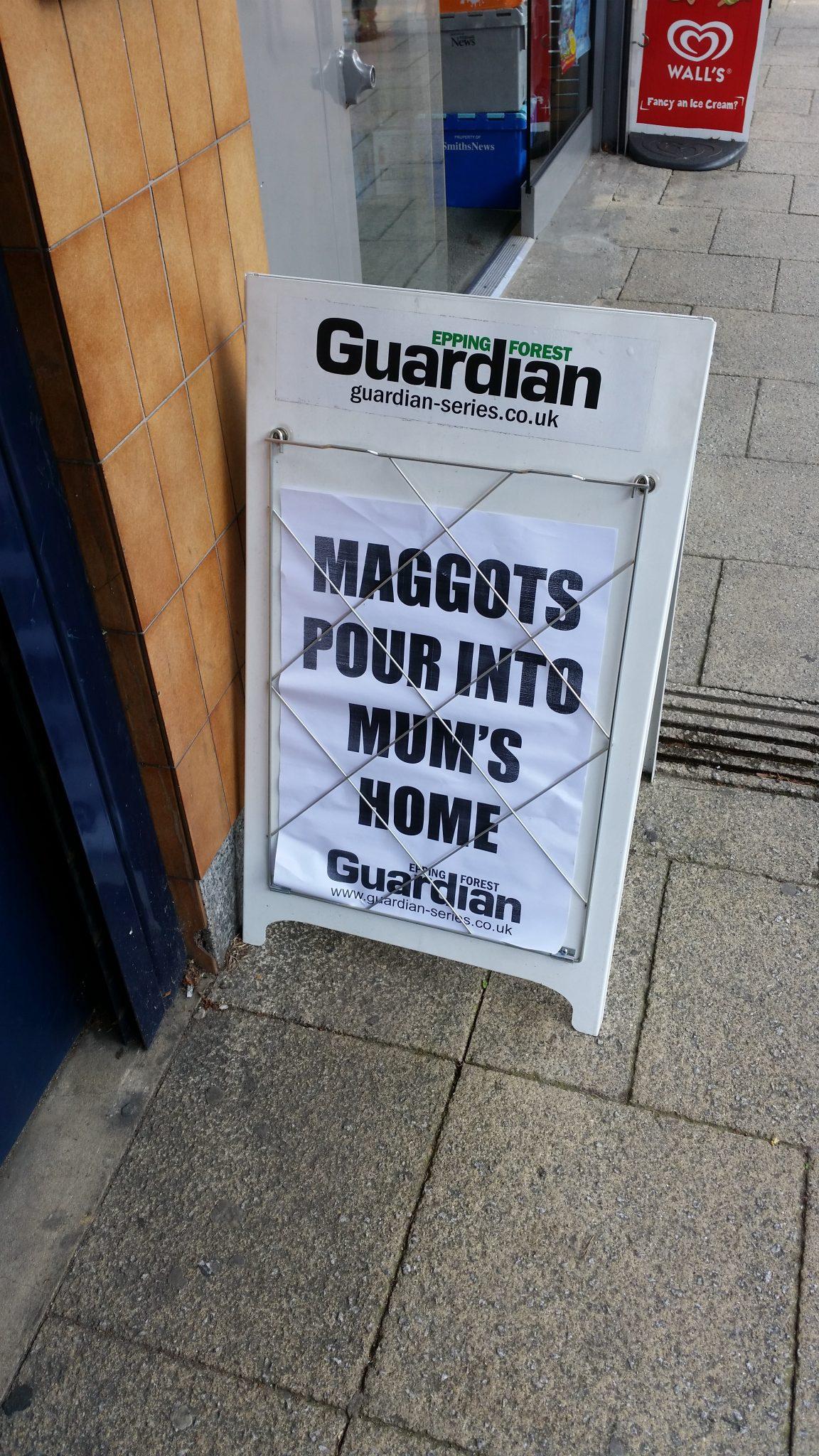 Maggots Pour into Mum's Home – #maggots #eppingforestguardian